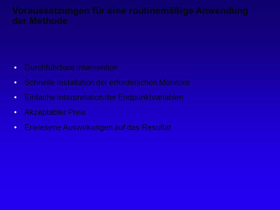 Voraussetzungen für eine routinemäßige Anwendung der Methode Durchführbare Intervention Schnelle Installation der erforderlichen Monitore Einfache Int