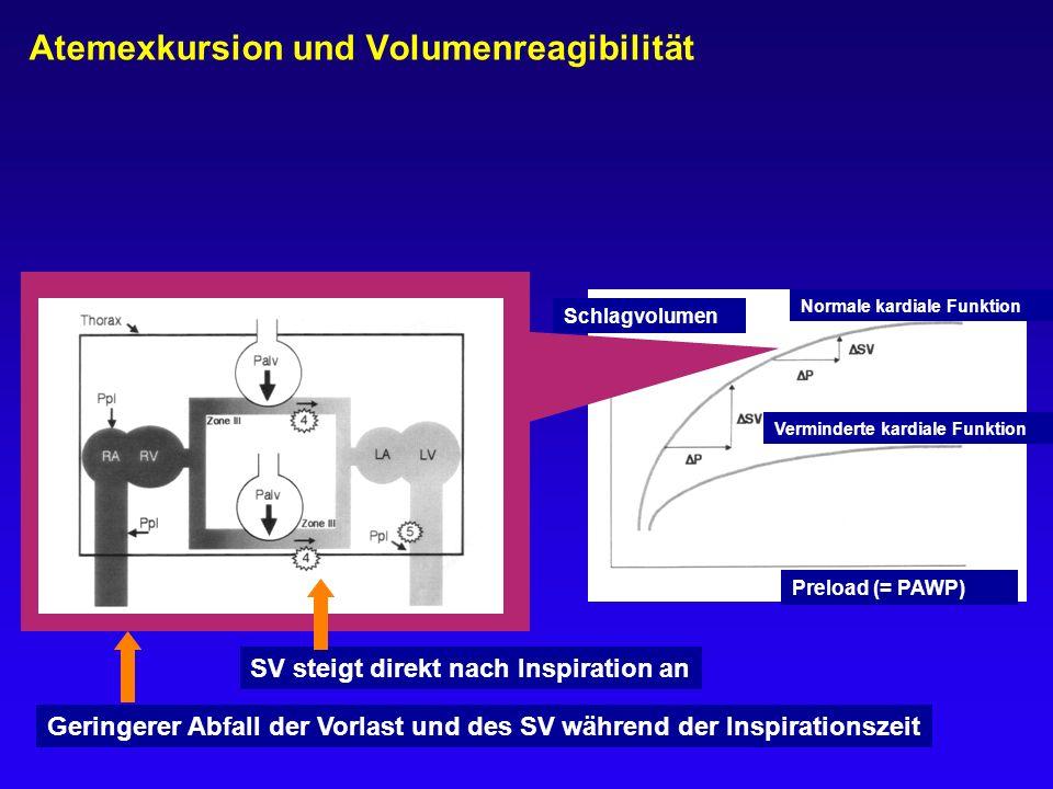 Schlagvolumen SV steigt direkt nach Inspiration an Geringerer Abfall der Vorlast und des SV während der Inspirationszeit Normale kardiale Funktion Ver