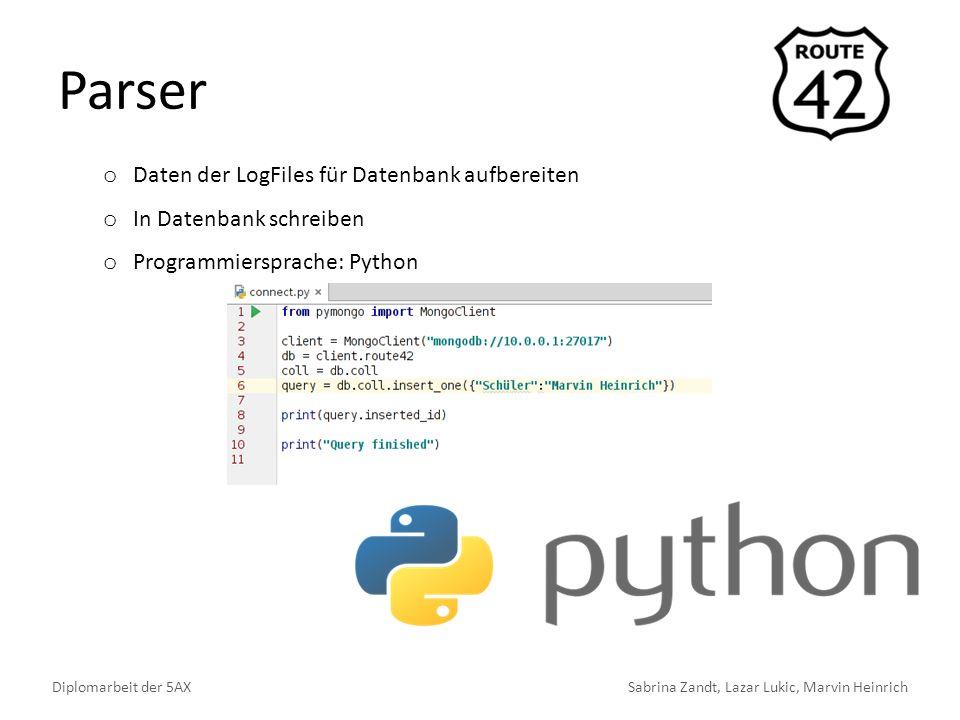 Parser Diplomarbeit der 5AXSabrina Zandt, Lazar Lukic, Marvin Heinrich o Daten der LogFiles für Datenbank aufbereiten o In Datenbank schreiben o Programmiersprache: Python