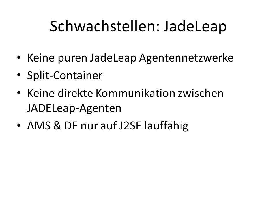 Schwachstellen: JadeLeap Keine puren JadeLeap Agentennetzwerke Split-Container Keine direkte Kommunikation zwischen JADELeap-Agenten AMS & DF nur auf J2SE lauffähig