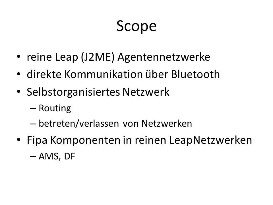 Scope reine Leap (J2ME) Agentennetzwerke direkte Kommunikation über Bluetooth Selbstorganisiertes Netzwerk – Routing – betreten/verlassen von Netzwerken Fipa Komponenten in reinen LeapNetzwerken – AMS, DF