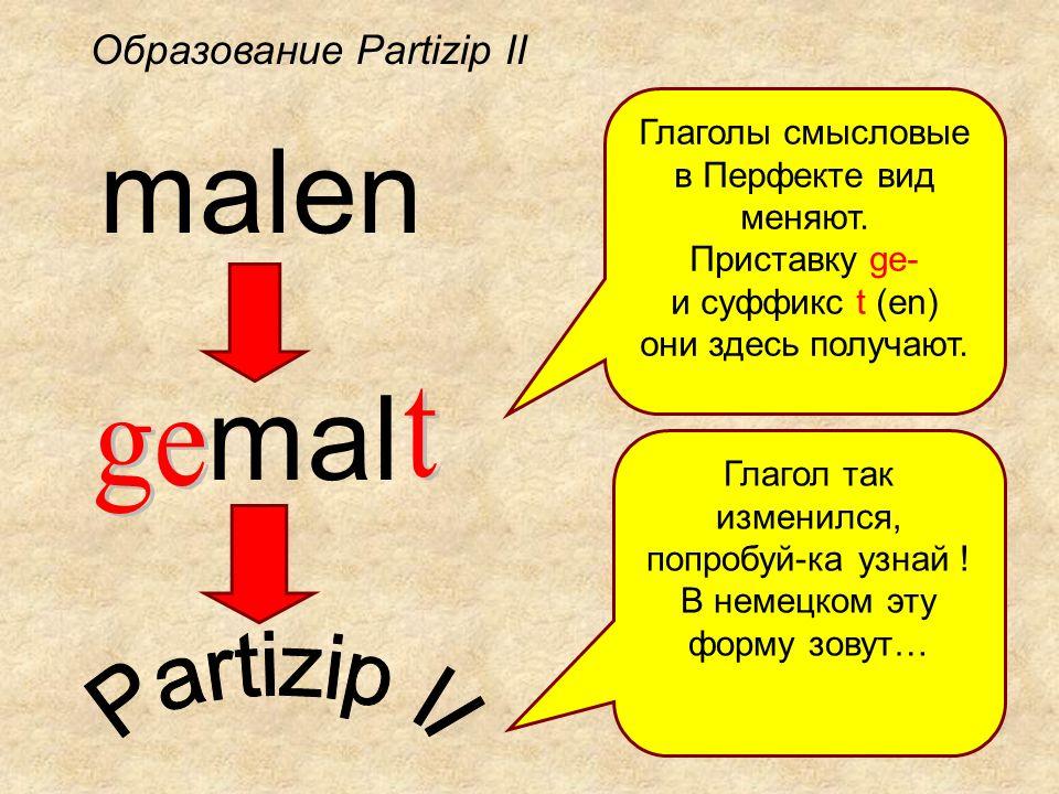 malen mal Глаголы смысловые в Перфекте вид меняют. Приставку ge- и суффикс t (en) они здесь получают. Глагол так изменился, попробуй-ка узнай ! В неме