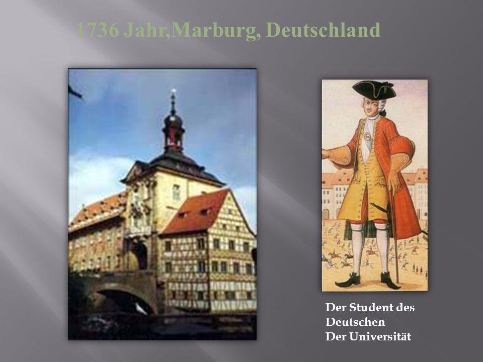 Der Student des Deutschen Der Universität 1736 Jahr,Marburg, Deutschland