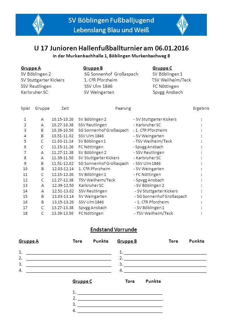 SV Böblingen Fußballjugend Lebenslang Blau und Weiß Gruppe A Gruppe B Gruppe C SV Böblingen 2 SG Sonnenhof Großaspach SV Böblingen 1 SV Stuttgarter Kickers 1.