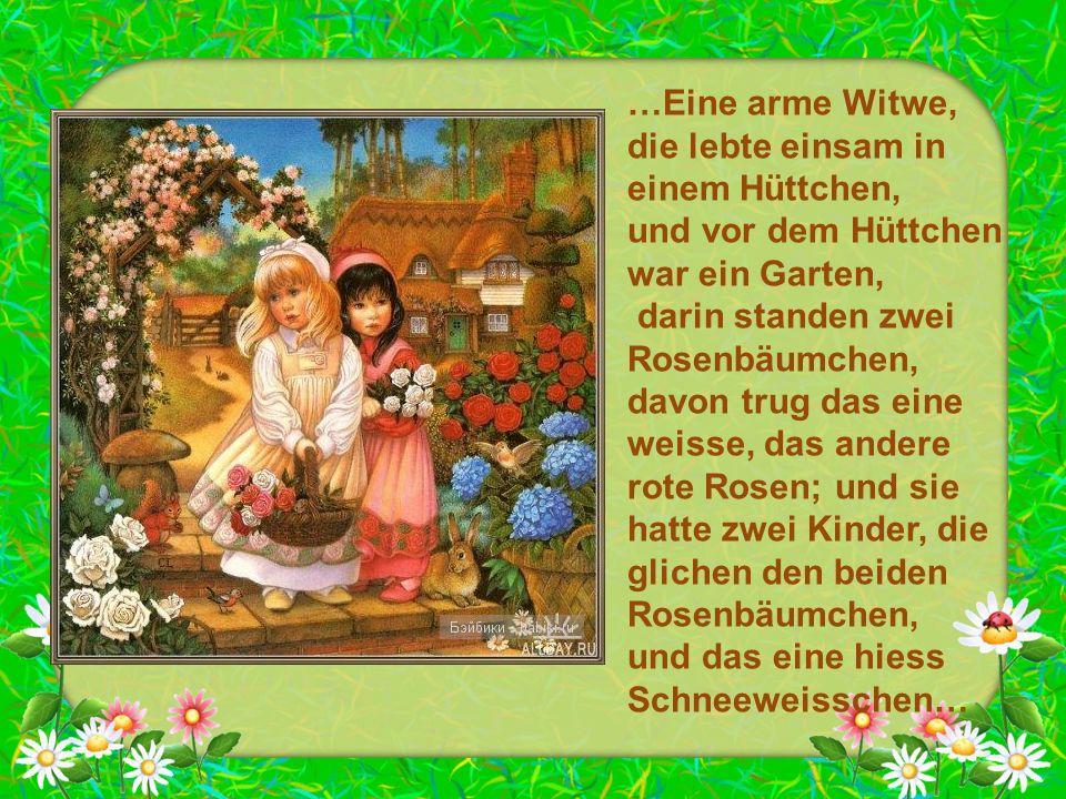 …Eine arme Witwe, die lebte einsam in einem Hüttchen, und vor dem Hüttchen war ein Garten, darin standen zwei Rosenbäumchen, davon trug das eine weiss
