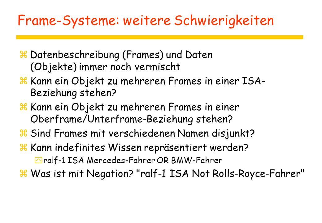 Frame-Systeme: weitere Schwierigkeiten zDatenbeschreibung (Frames) und Daten (Objekte) immer noch vermischt zKann ein Objekt zu mehreren Frames in einer ISA- Beziehung stehen.