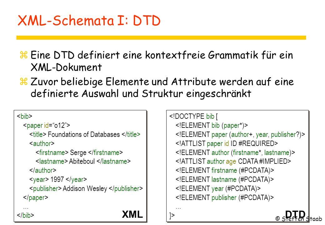 XML-Schemata I: DTD zEine DTD definiert eine kontextfreie Grammatik für ein XML-Dokument zZuvor beliebige Elemente und Attribute werden auf eine definierte Auswahl und Struktur eingeschränkt Foundations of Databases Serge Abiteboul 1997 Addison Wesley...