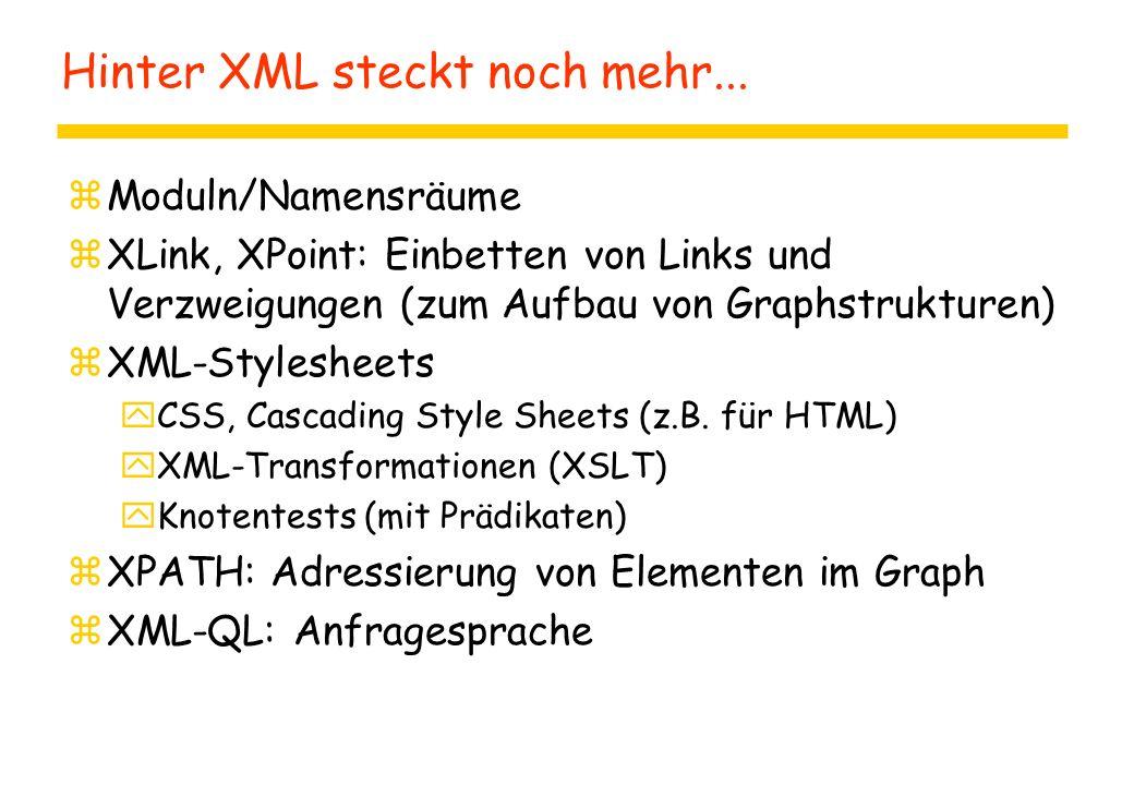 Hinter XML steckt noch mehr...