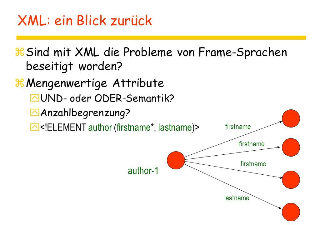 XML: ein Blick zurück zSind mit XML die Probleme von Frame-Sprachen beseitigt worden.