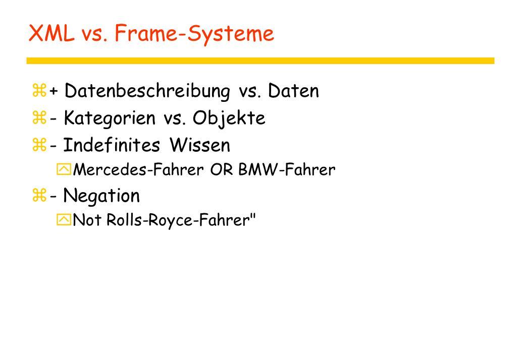 XML vs. Frame-Systeme z+ Datenbeschreibung vs. Daten z- Kategorien vs.