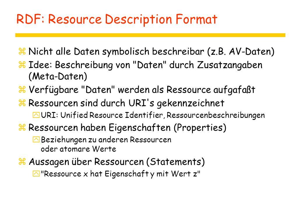 RDF: Resource Description Format zNicht alle Daten symbolisch beschreibar (z.B.