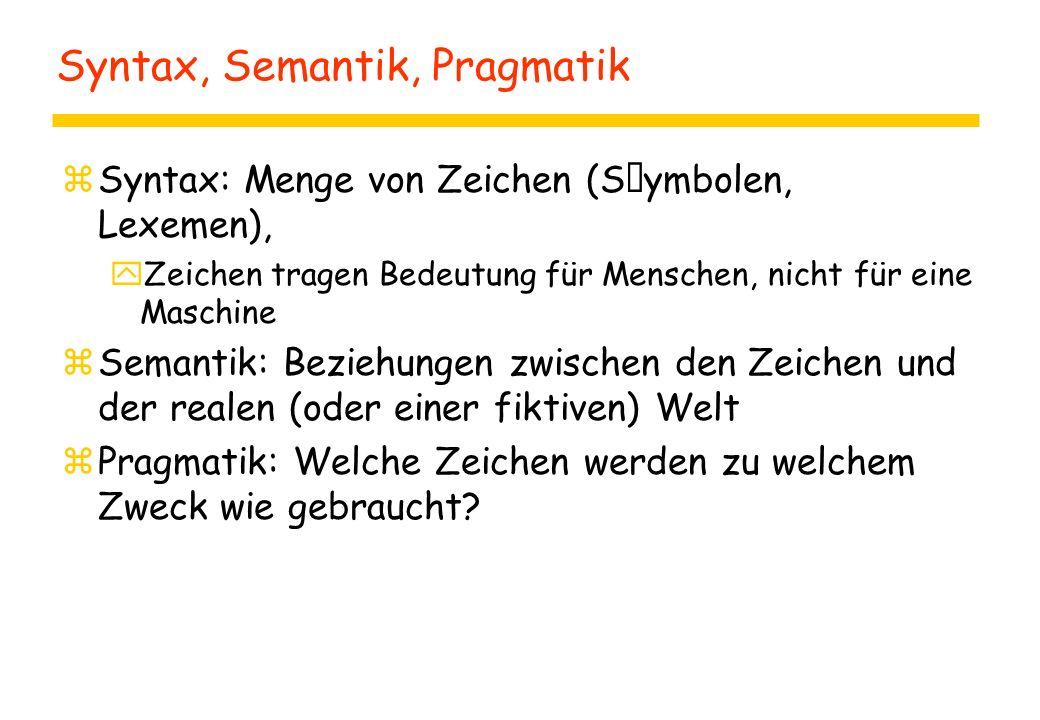 Syntax, Semantik, Pragmatik zSyntax: Menge von Zeichen (Symbolen, Lexemen), yZeichen tragen Bedeutung für Menschen, nicht für eine Maschine zSemantik: Beziehungen zwischen den Zeichen und der realen (oder einer fiktiven) Welt zPragmatik: Welche Zeichen werden zu welchem Zweck wie gebraucht?