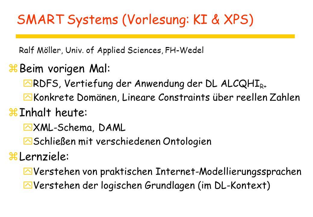 SMART Systems (Vorlesung: KI & XPS) zBeim vorigen Mal: yRDFS, Vertiefung der Anwendung der DL ALCQHI R+ yKonkrete Domänen, Lineare Constraints über re