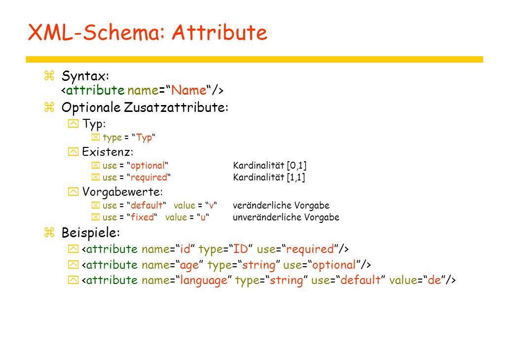 "XML-Schema: Attribute zSyntax: zOptionale Zusatzattribute: yTyp: xtype = ""Typ"" yExistenz: xuse = ""optional""Kardinalität [0,1] xuse = ""required""Kardina"