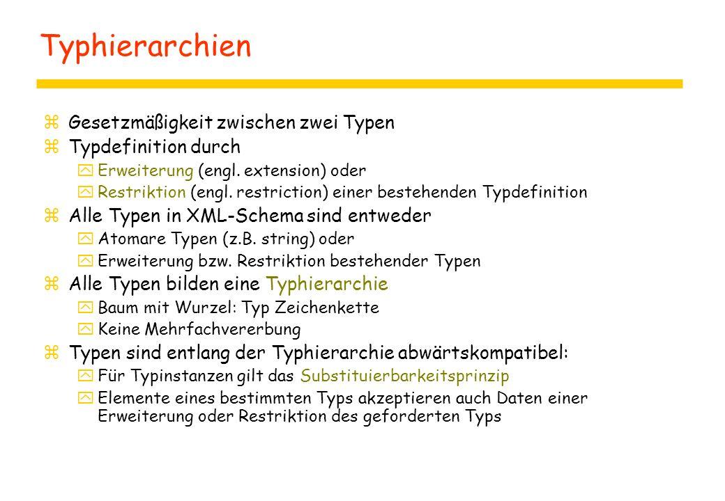 Typhierarchien zGesetzmäßigkeit zwischen zwei Typen zTypdefinition durch yErweiterung (engl. extension) oder yRestriktion (engl. restriction) einer be