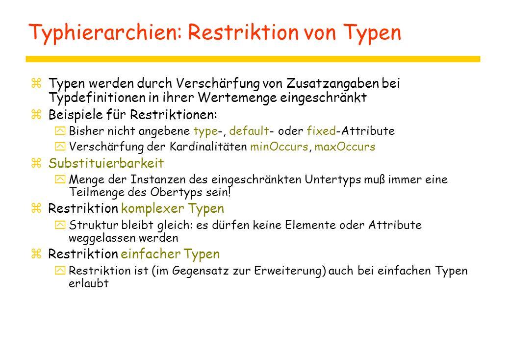 Typhierarchien: Restriktion von Typen zTypen werden durch Verschärfung von Zusatzangaben bei Typdefinitionen in ihrer Wertemenge eingeschränkt zBeispi