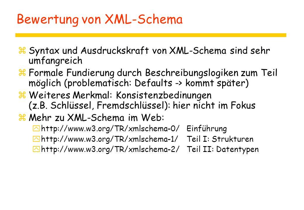 Bewertung von XML-Schema zSyntax und Ausdruckskraft von XML-Schema sind sehr umfangreich zFormale Fundierung durch Beschreibungslogiken zum Teil mögli