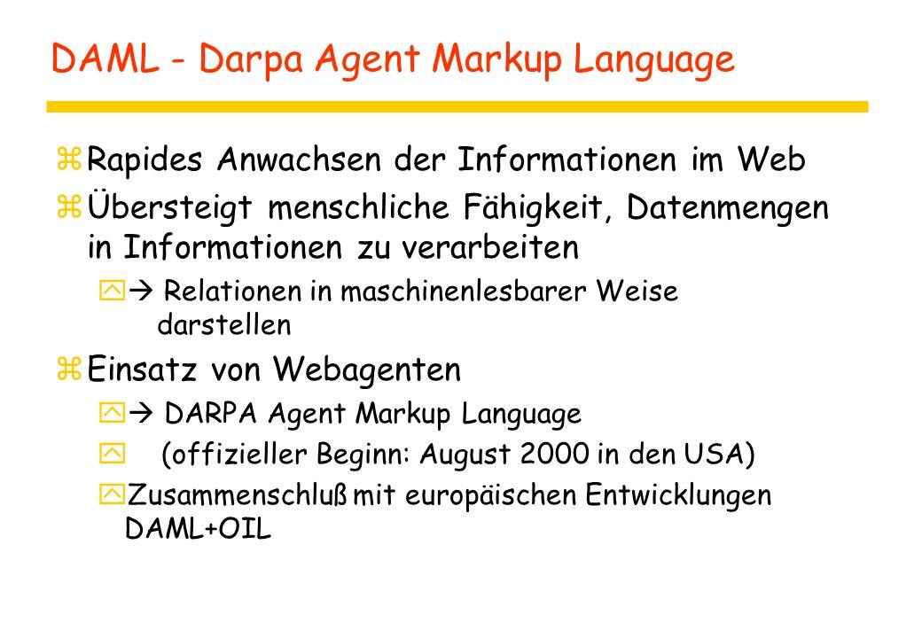 DAML - Darpa Agent Markup Language zRapides Anwachsen der Informationen im Web zÜbersteigt menschliche Fähigkeit, Datenmengen in Informationen zu vera