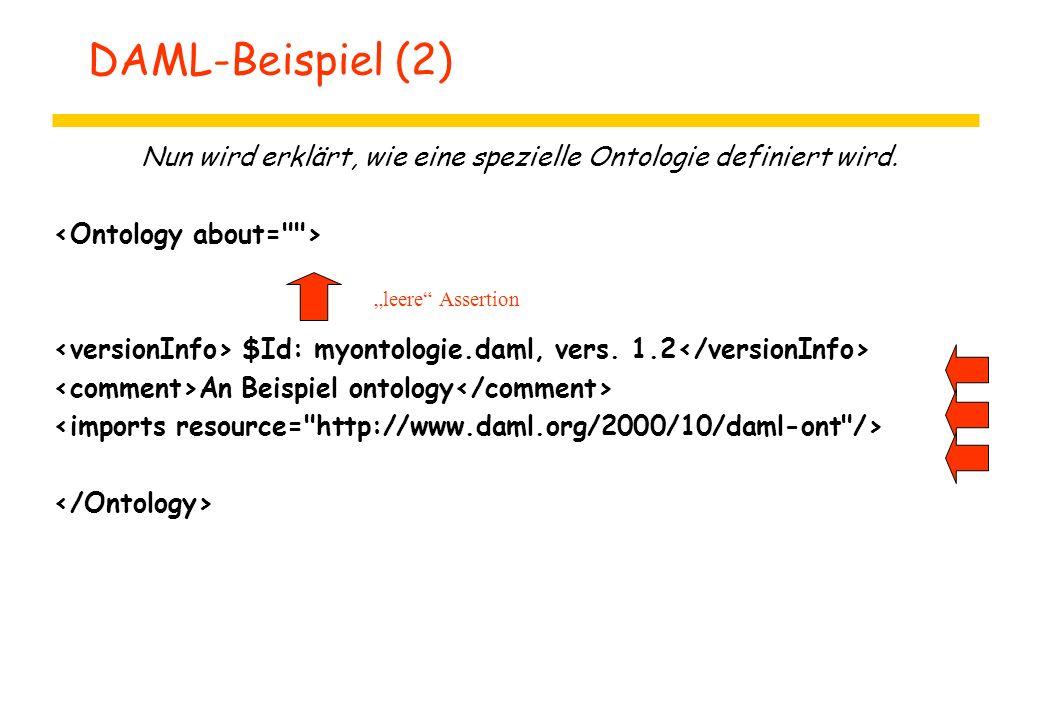 """DAML-Beispiel (2) Nun wird erklärt, wie eine spezielle Ontologie definiert wird. $Id: myontologie.daml, vers. 1.2 An Beispiel ontology """"leere"""" Asserti"""