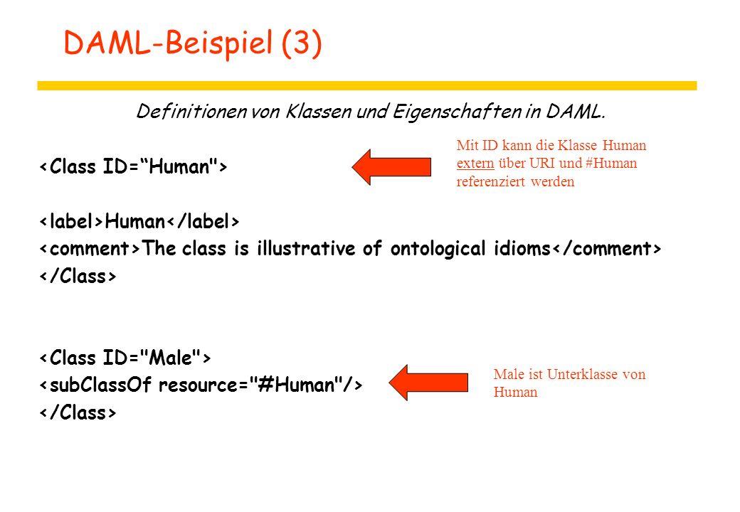 DAML-Beispiel (3) Definitionen von Klassen und Eigenschaften in DAML. Human The class is illustrative of ontological idioms Mit ID kann die Klasse Hum