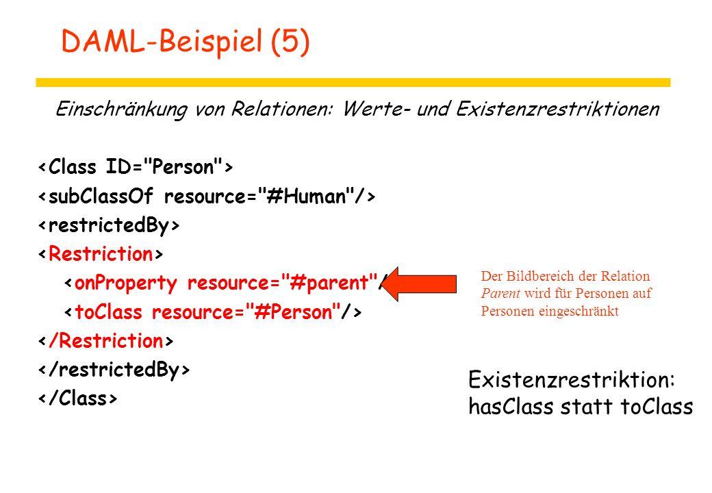DAML-Beispiel (5) Einschränkung von Relationen: Werte- und Existenzrestriktionen Der Bildbereich der Relation Parent wird für Personen auf Personen ei