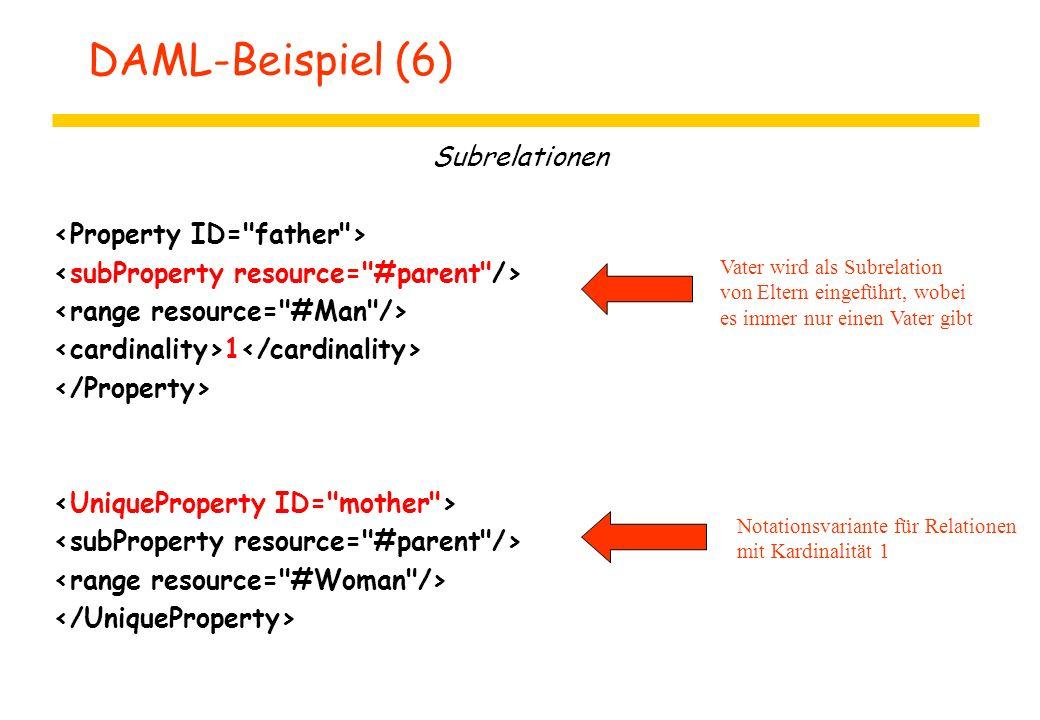 DAML-Beispiel (6) Subrelationen 1 Vater wird als Subrelation von Eltern eingeführt, wobei es immer nur einen Vater gibt Notationsvariante für Relation