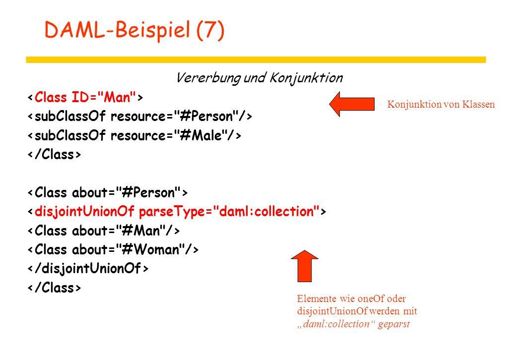 """DAML-Beispiel (7) Vererbung und Konjunktion Konjunktion von Klassen Elemente wie oneOf oder disjointUnionOf werden mit """"daml:collection"""" geparst"""
