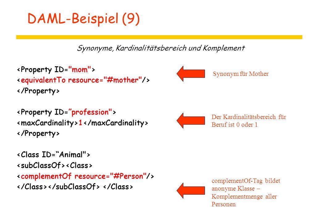 DAML-Beispiel (9) Synonyme, Kardinalitätsbereich und Komplement 1 Der Kardinalitätsbereich für Beruf ist 0 oder 1 Synonym für Mother complementOf-Tag