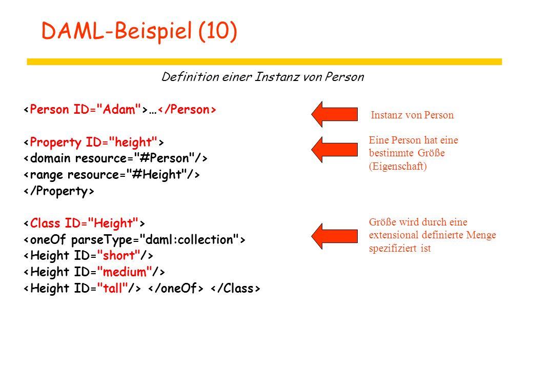 DAML-Beispiel (10) Definition einer Instanz von Person … Instanz von Person Eine Person hat eine bestimmte Größe (Eigenschaft) Größe wird durch eine e