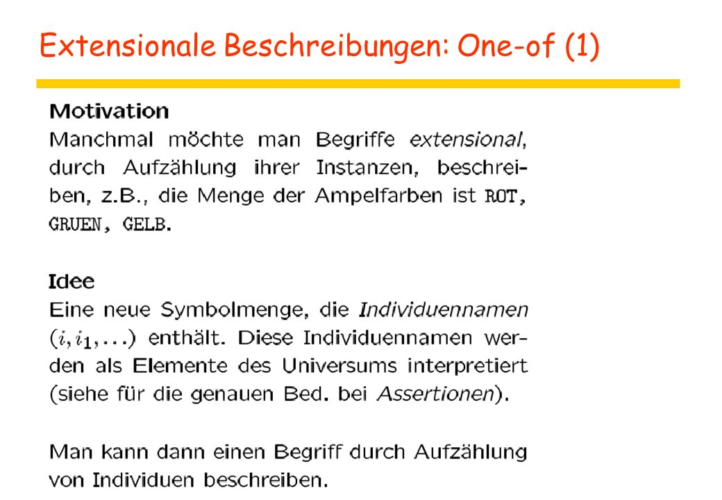 Extensionale Beschreibungen: One-of (1)