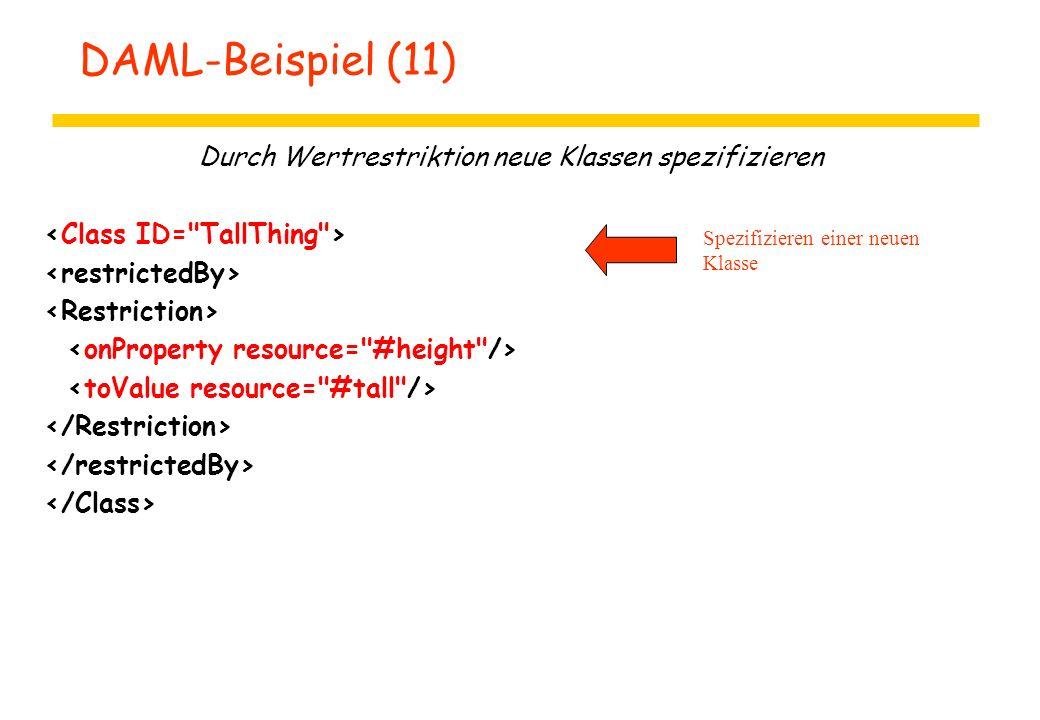 DAML-Beispiel (11) Durch Wertrestriktion neue Klassen spezifizieren Spezifizieren einer neuen Klasse