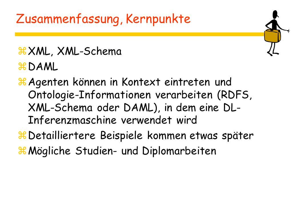 Zusammenfassung, Kernpunkte zXML, XML-Schema zDAML zAgenten können in Kontext eintreten und Ontologie-Informationen verarbeiten (RDFS, XML-Schema oder