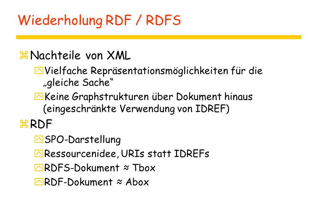 """Wiederholung RDF / RDFS zNachteile von XML yVielfache Repräsentationsmöglichkeiten für die """"gleiche Sache"""" yKeine Graphstrukturen über Dokument hinaus"""