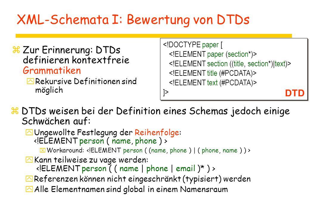 XML-Schemata I: Bewertung von DTDs zZur Erinnerung: DTDs definieren kontextfreie Grammatiken yRekursive Definitionen sind möglich ]> ]> DTD zDTDs weis