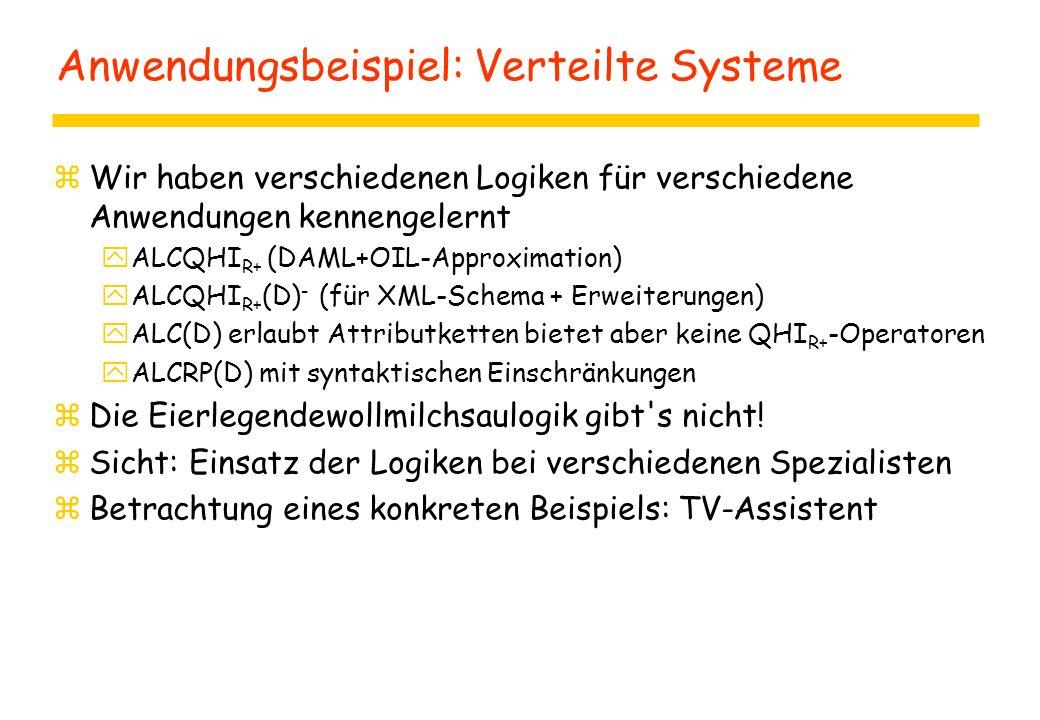 Anwendungsbeispiel: Verteilte Systeme zWir haben verschiedenen Logiken für verschiedene Anwendungen kennengelernt yALCQHI R+ (DAML+OIL-Approximation) yALCQHI R+ (D) - (für XML-Schema + Erweiterungen) yALC(D) erlaubt Attributketten bietet aber keine QHI R+ -Operatoren yALCRP(D) mit syntaktischen Einschränkungen zDie Eierlegendewollmilchsaulogik gibt s nicht.