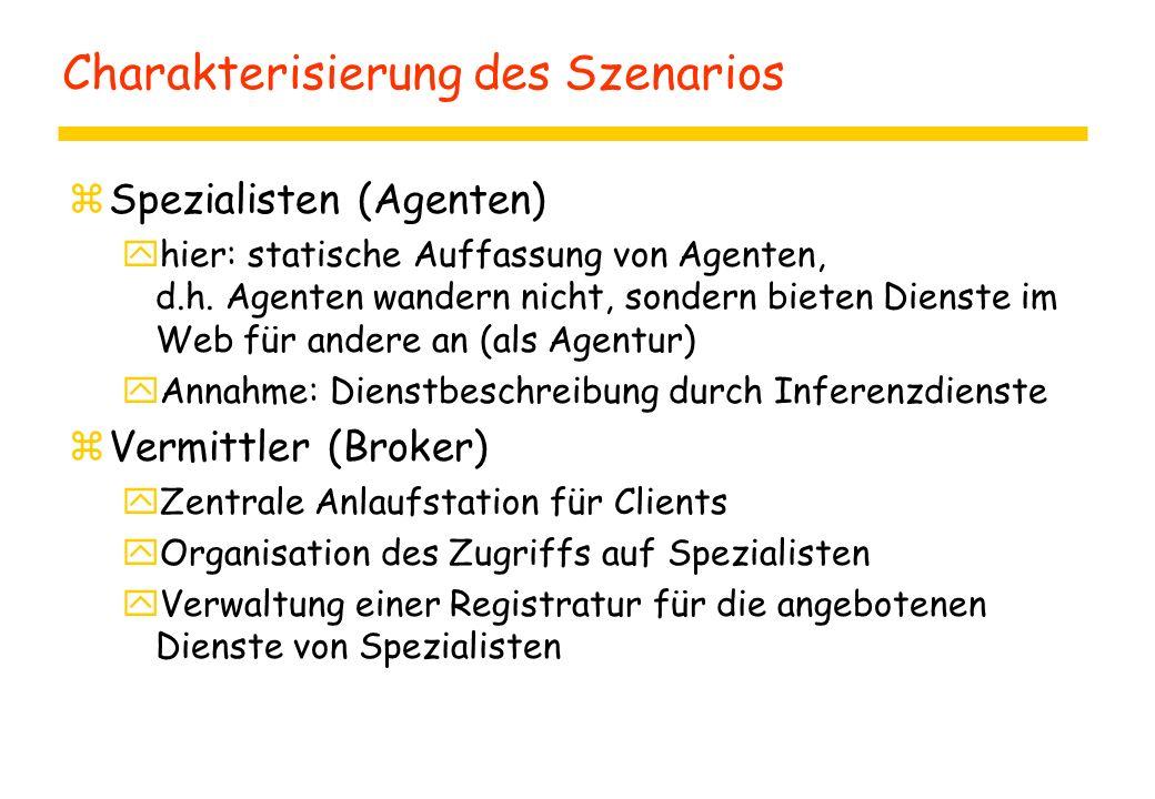 Charakterisierung des Szenarios zSpezialisten (Agenten) yhier: statische Auffassung von Agenten, d.h.