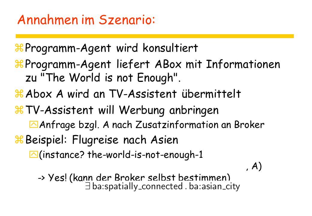 Annahmen im Szenario: zProgramm-Agent wird konsultiert zProgramm-Agent liefert ABox mit Informationen zu The World is not Enough .