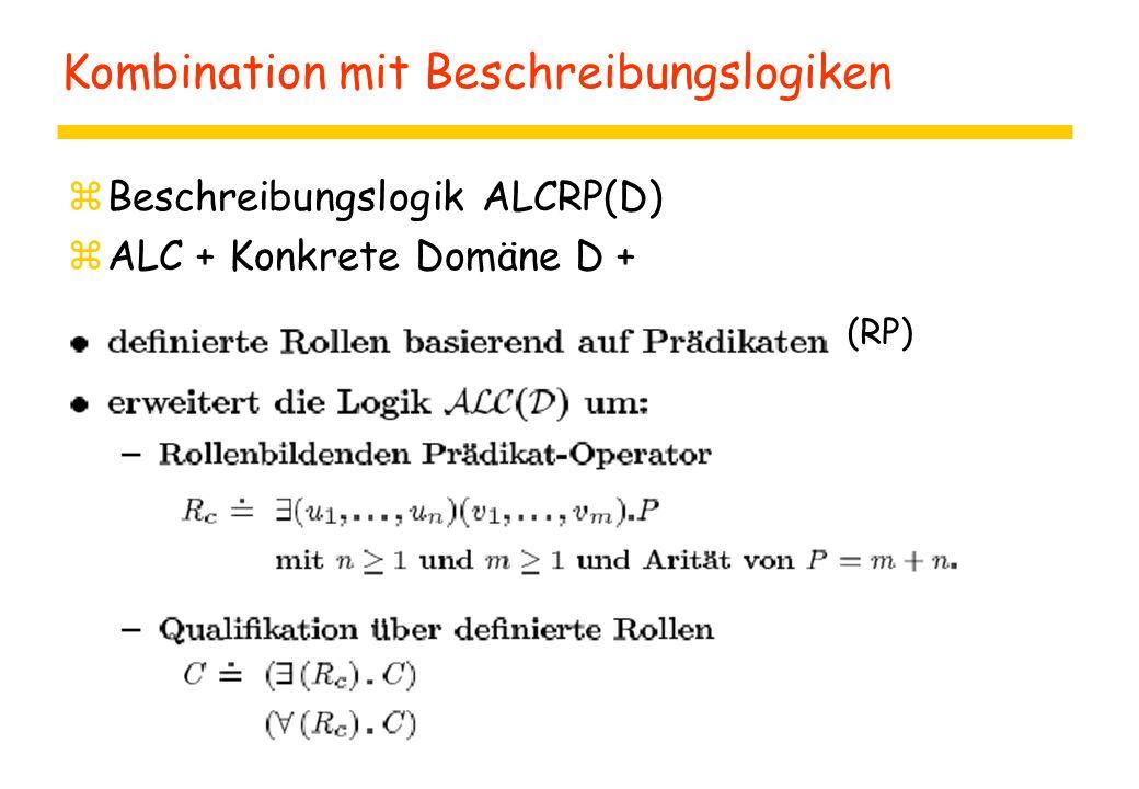Kombination mit Beschreibungslogiken zBeschreibungslogik ALCRP(D) zALC + Konkrete Domäne D + (RP)