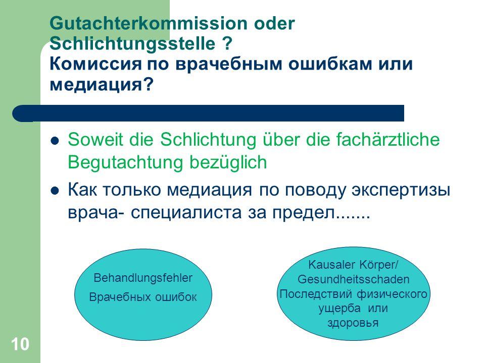 10 Gutachterkommission oder Schlichtungsstelle . Комиссия по врачебным ошибкам или медиация.