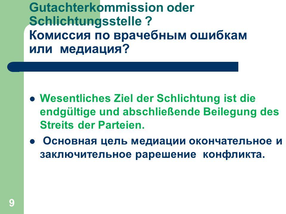 9 Gutachterkommission oder Schlichtungsstelle . Комиссия по врачебным ошибкам или медиация.