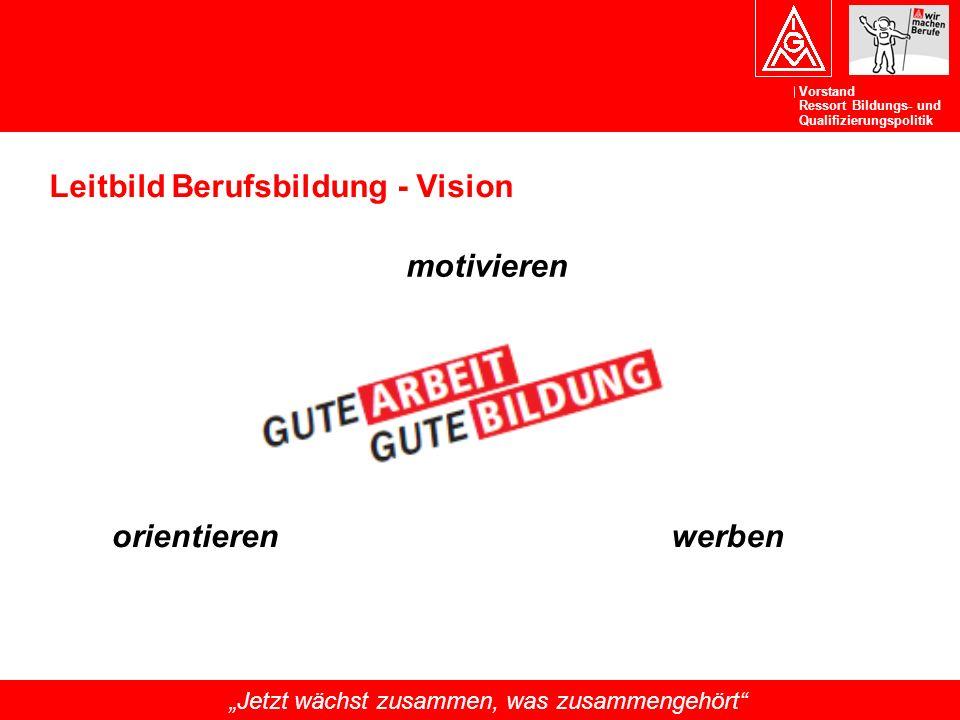 """Vorstand Ressort Bildungs- und Qualifizierungspolitik """"Jetzt wächst zusammen, was zusammengehört"""" Leitbild Berufsbildung - Vision werben motivieren or"""