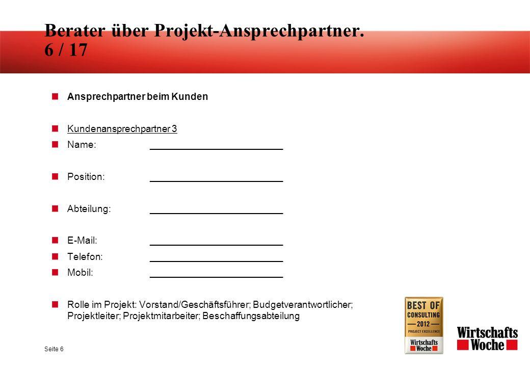 Berater über Projekt-Ansprechpartner. 17 / 17 Seite 18