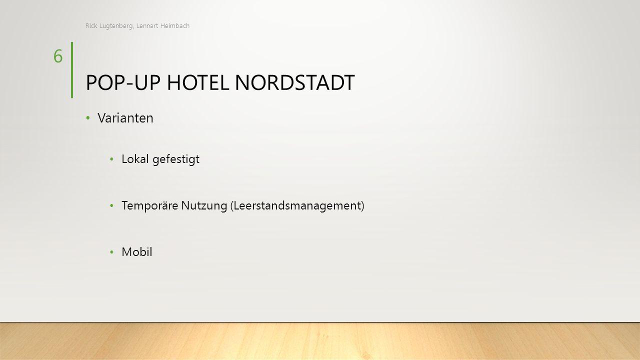 POP-UP HOTEL NORDSTADT Varianten Lokal gefestigt Temporäre Nutzung (Leerstandsmanagement) Mobil Rick Lugtenberg, Lennart Heimbach 6