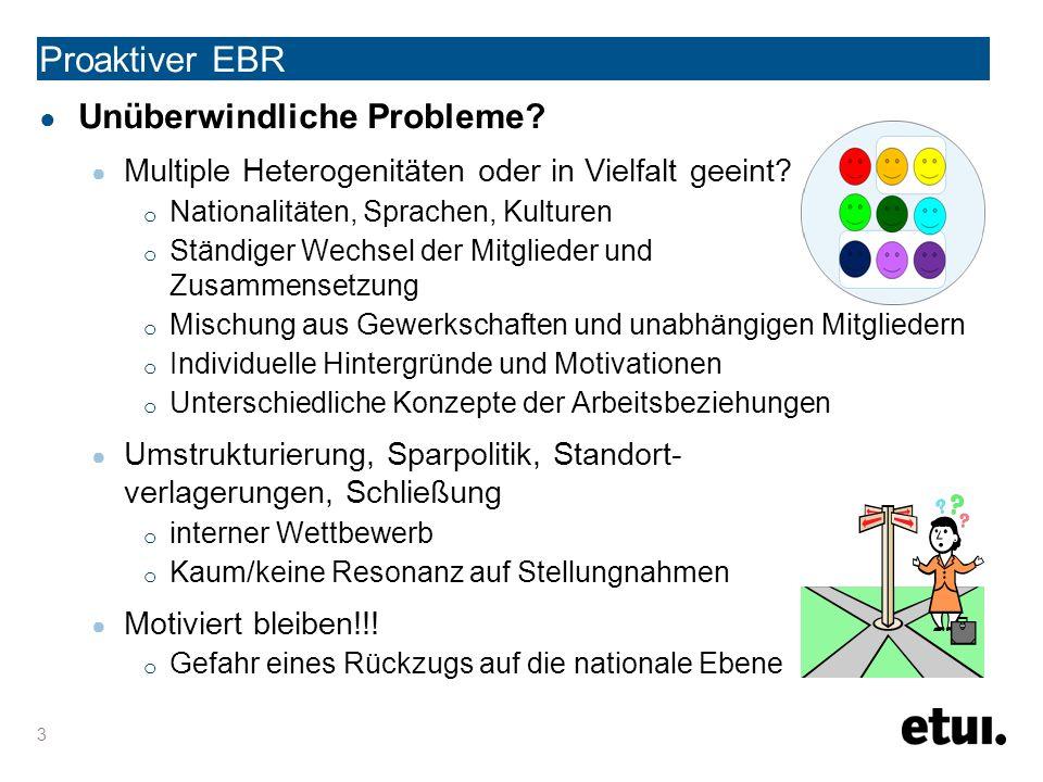 4 Proaktiver EBR ● Positive Entwicklung eines EBR Symbolischer EBR = leere Schachtel M Passiver EBR = Informationsquelle Dienstleister M Projektorientierter EBR = interne Kohärenz M Beteiligungsorientierter EBR = Interaktivität zwischen Arbeitnehmern und Geschäftsführung M Quelle: Typologie von Prof.