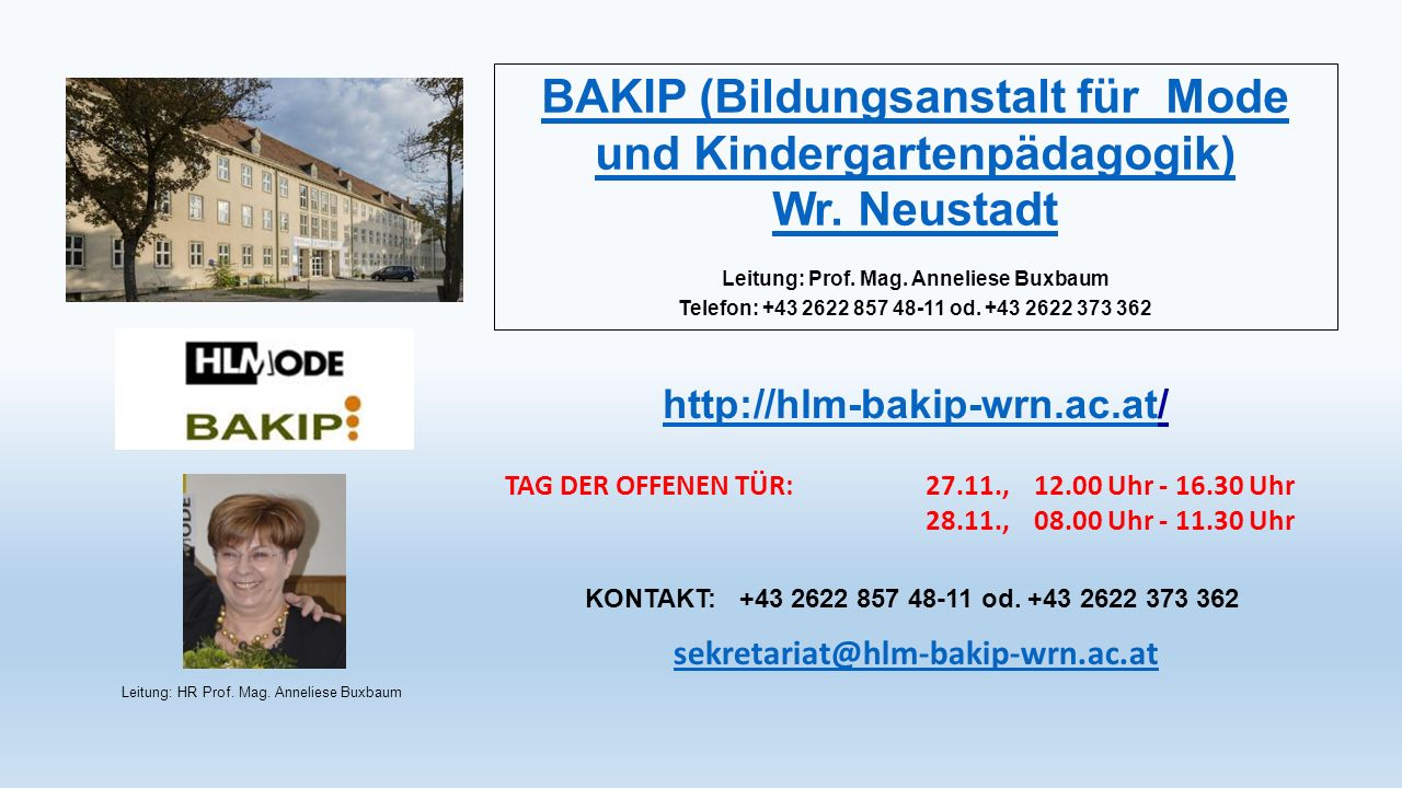 BAKIP (Bildungsanstalt für Mode und Kindergartenpädagogik) Wr.