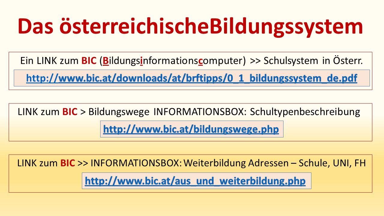Das österreichischeBildungssystem Ein LINK zum BIC (Bildungsinformationscomputer) >> Schulsystem in Österr.