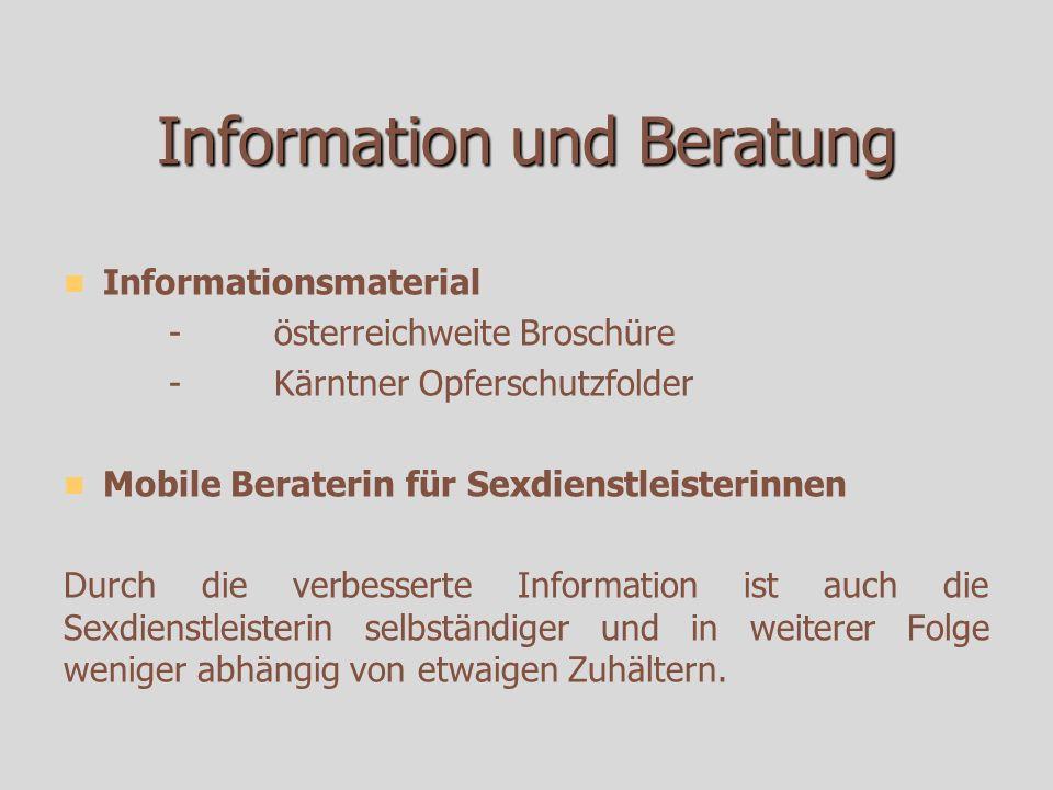 Information und Beratung Informationsmaterial -österreichweite Broschüre -Kärntner Opferschutzfolder Mobile Beraterin für Sexdienstleisterinnen Durch die verbesserte Information ist auch die Sexdienstleisterin selbständiger und in weiterer Folge weniger abhängig von etwaigen Zuhältern.