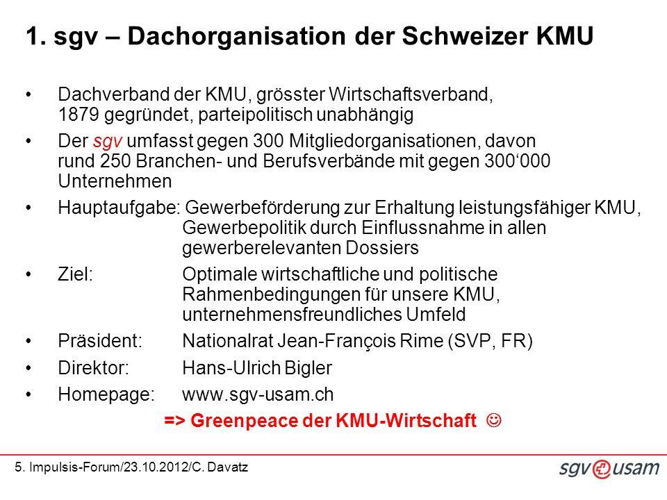 5. Impulsis-Forum/23.10.2012/C. Davatz 1. sgv – Dachorganisation der Schweizer KMU Dachverband der KMU, grösster Wirtschaftsverband, 1879 gegründet, p