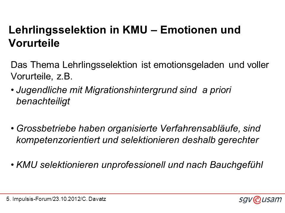 5.Impulsis-Forum/23.10.2012/C. Davatz Erfolgsfaktoren in der Berufsbildung (Bericht K.
