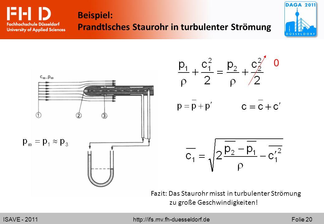 ISAVE - 2011 http://ifs.mv.fh-duesseldorf.de Folie 20 Beispiel: Prandtlsches Staurohr in turbulenter Strömung 0 Fazit: Das Staurohr misst in turbulent